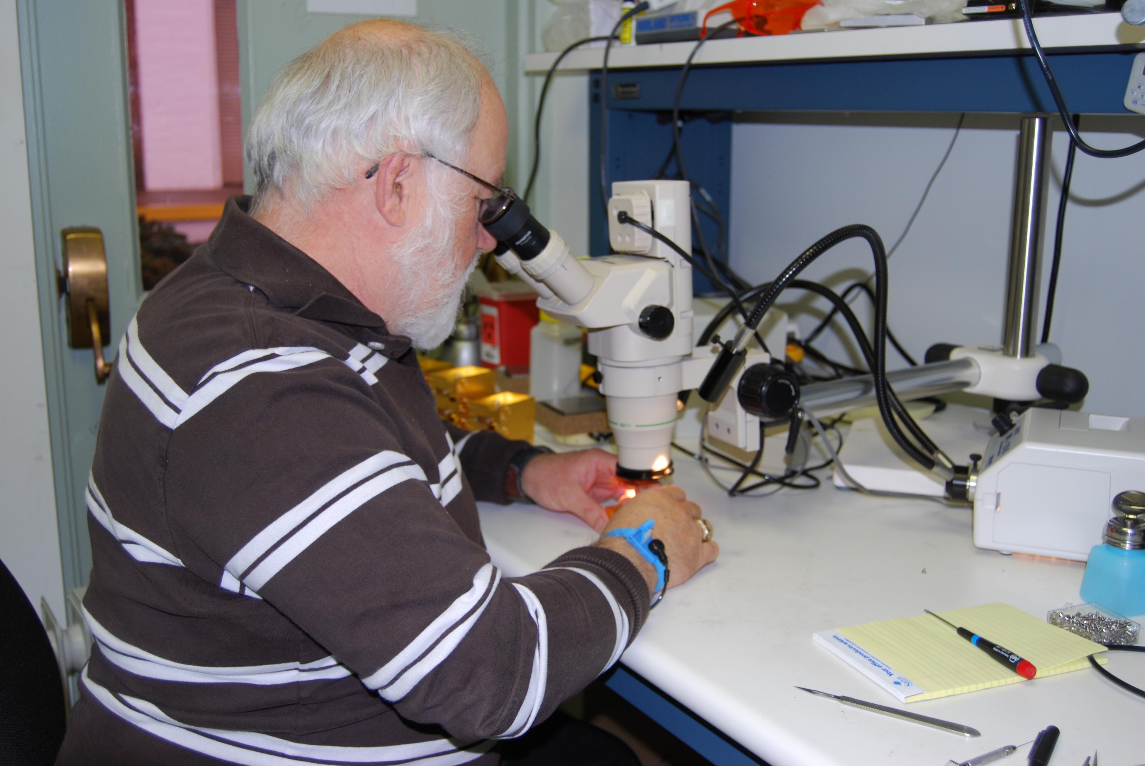 Skip Thacker Inspects ALMA Amplifiers, March 2010